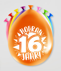 Party Ballonnen - 16 jaar verpakt per 8 stuks