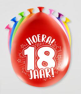 Party Ballonnen - 18 jaar verpakt per 8 stuks
