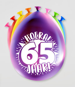Party Ballonnen  65 jaar  verpakt per 8 stuks