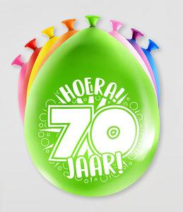 Party Ballonnen  70 jaar  verpakt per 8 stuks