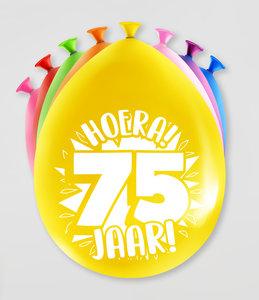 Party Ballonnen  75 jaar  verpakt per 8 stuks