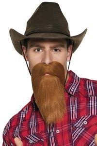 Baard met snor cowboy bruin